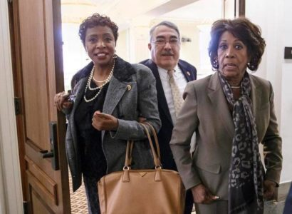 Rep. Yvette Clarke, D-N.Y., left, and Rep. Maxine Waters, D-Calif.