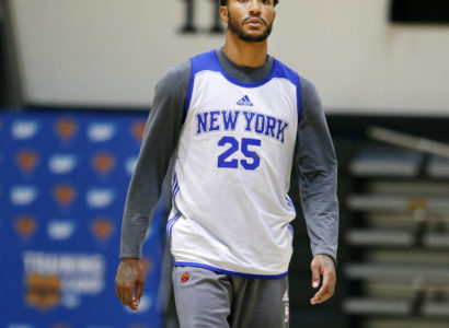 WEST POINT, NY - SEPTEMBER 30:  Derrick Rose #25 of the New York Knicks looks on during training camp practice on September 30, 2016 at The U.S. Military Academy at West Point in West Point, New York.  NOTE TO USER: User expressly acknowledges and agrees that, by downloading and or using this Photograph, user is consenting to the terms and conditions of the Getty Images License Agreement. Mandatory Copyright Notice: Copyright 2016 NBAE (Photo by Nathaniel S. Butler/NBAE via Getty Images)